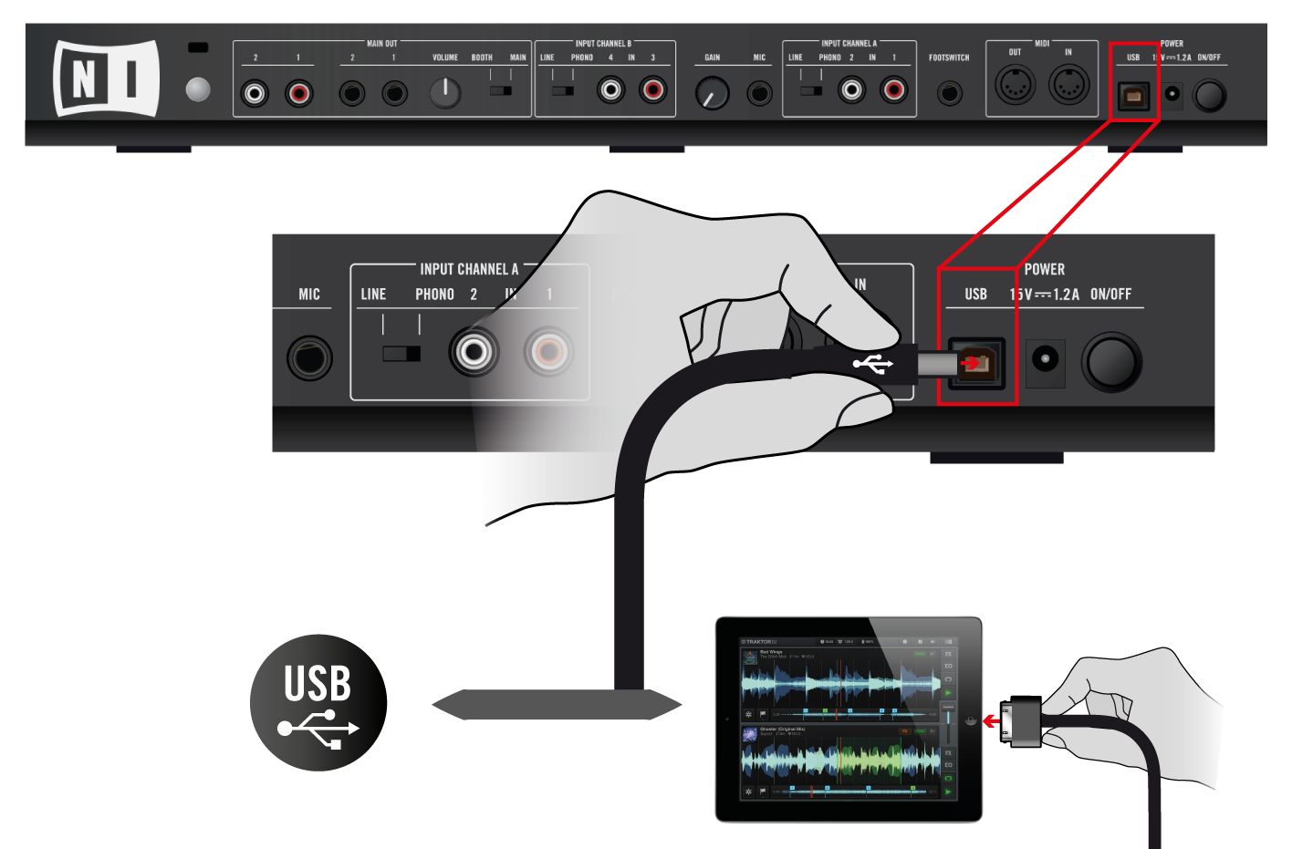 Using the S4 with Your ios Device Connecting the S4 to Your ios Device 5.1 Connecting the S4 to Your ios Device To connect the TRAKTOR KONTROL S4 to your ios device: 1.