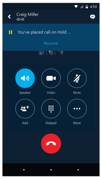 Page 7 Tap Video to put the meeting on hold and accept an incoming audio and video call. Tap End call to ignore the incoming call and remain in your meeting. Switch between a call and your meeting 1.