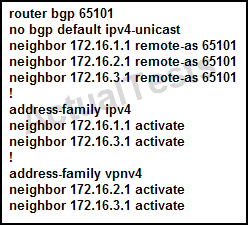 Cisco 642-889 Exam A. None of the routers will receive IPv4 BGP routes. B. Only the 172.16.2.1 and 172.16.3.1 neighbors will receive both VPNv4 routes and IPv4 BGP routes. C. Only the 172.16.3.1 neighbor will receive both VPNv4 routes and IPv4 BGP routes.