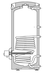 Storage Tanks - configurations One coil cylinder with immersion heater.
