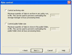 7. The Rate Control page will then be displayed.