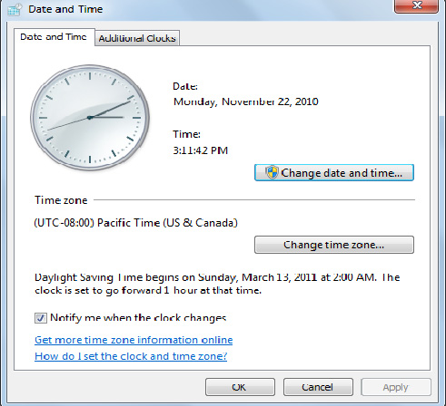 These date and time settings are obtained from a battery-operated clock inside the computer (its internal clock), which should be current.