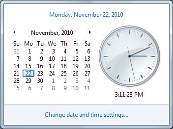 Unit 2: Using Windows 7 Lesson 13 Changing the Date and Time Customizing the System Settings By default, the current time displays in the notification area; when you hover the mouse pointer over the