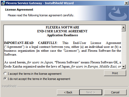 Chapter 3: Installing and Configuring Flexera Service Gateway Installing the Flexera Service Gateway 8. Click Finish. The Welcome panel of the Flexera Service Gateway installer opens.
