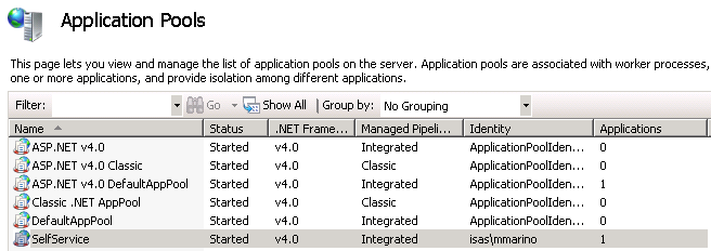 Chapter 5: Configuring App Portal Performing App Portal Troubleshooting Check the SelfService Service To check that the SelfService application pool service is running, perform the following steps: