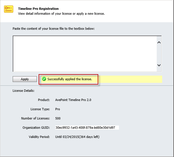 5. Click Apply to apply the license. The Timeline Pro License Agreement pop-up window appears. Figure 10: The Timeline Pro License Agreement pop-up window (Dynamics CRM 2013 environment shown). 6.
