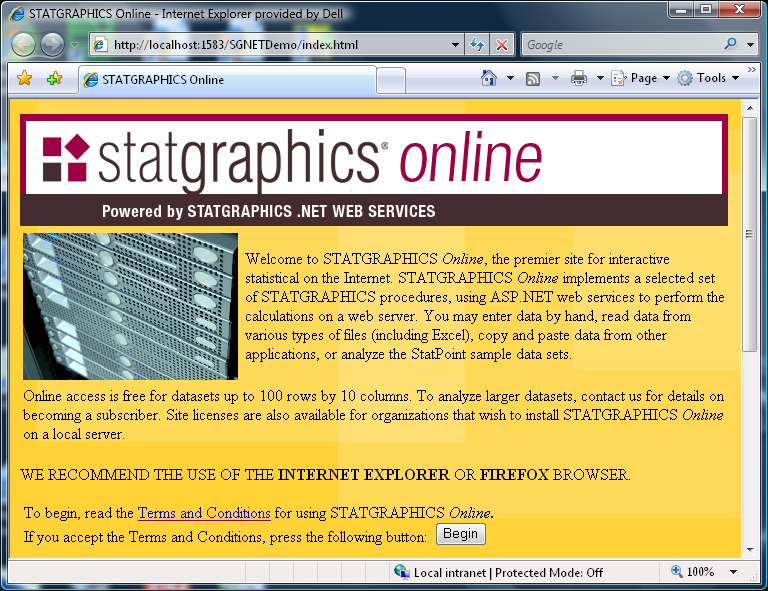 Introduction STATGRAPHICS Online is a statistical package that allows you to perform a wide variety of statistical analyses from within your web browser.