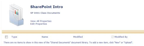 Name of the Document Set you wish to open and populate (SharePoint Intro) Click the Document tab to open the Document Ribbon Click the Upload Document down arrow Select Upload Document OR Upload