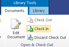 2.2 Check Out - Edit - Check In Part One: Check Out Hover over the name of the document to be checked out Click the checkbox that appears beside the document icon Click the Check Out icon Part Two:
