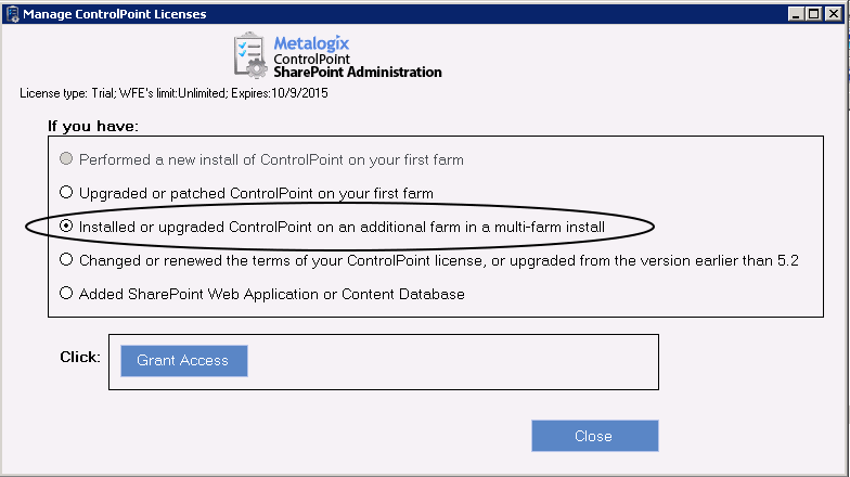 If you have... installed ControlPoint for the first time Then... the [Manage Licenses] and [Record License Info] buttons display, prompting you to enter or update your current license.