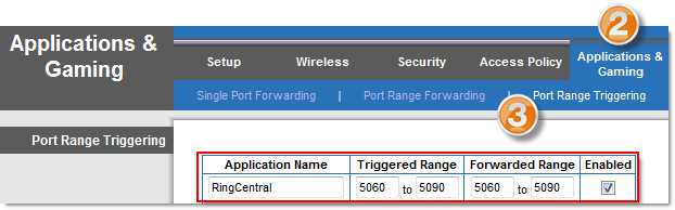 Port and firewall setup Details Setting up port triggering on a Linksys router Port triggering allows you to give specialized Internet applications within a private or local network, such as VoIP or