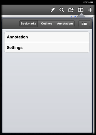 12 To clear all annotations in the document, tap Clear in Annotations section.