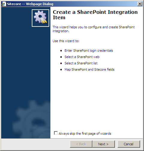 5.4 Using the SharePoint Integration Wizard To integrate a SharePoint list with Sitecore using the SharePoint Integration wizard: 1. In Sitecore, open the Content Editor. 2.
