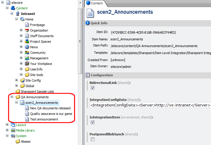 they appear under the scen2_announcements Sharepoint integration definition item.