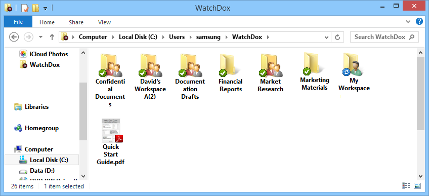 4 Accessing and updating files in the WatchDox Folder Click the WatchDox shortcut on your desktop to open the WatchDox Folder.