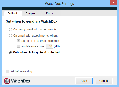 WatchDox icon in the taskbar, and select Settings from the context menu. A dialog box opens, enabling you to define or change settings.