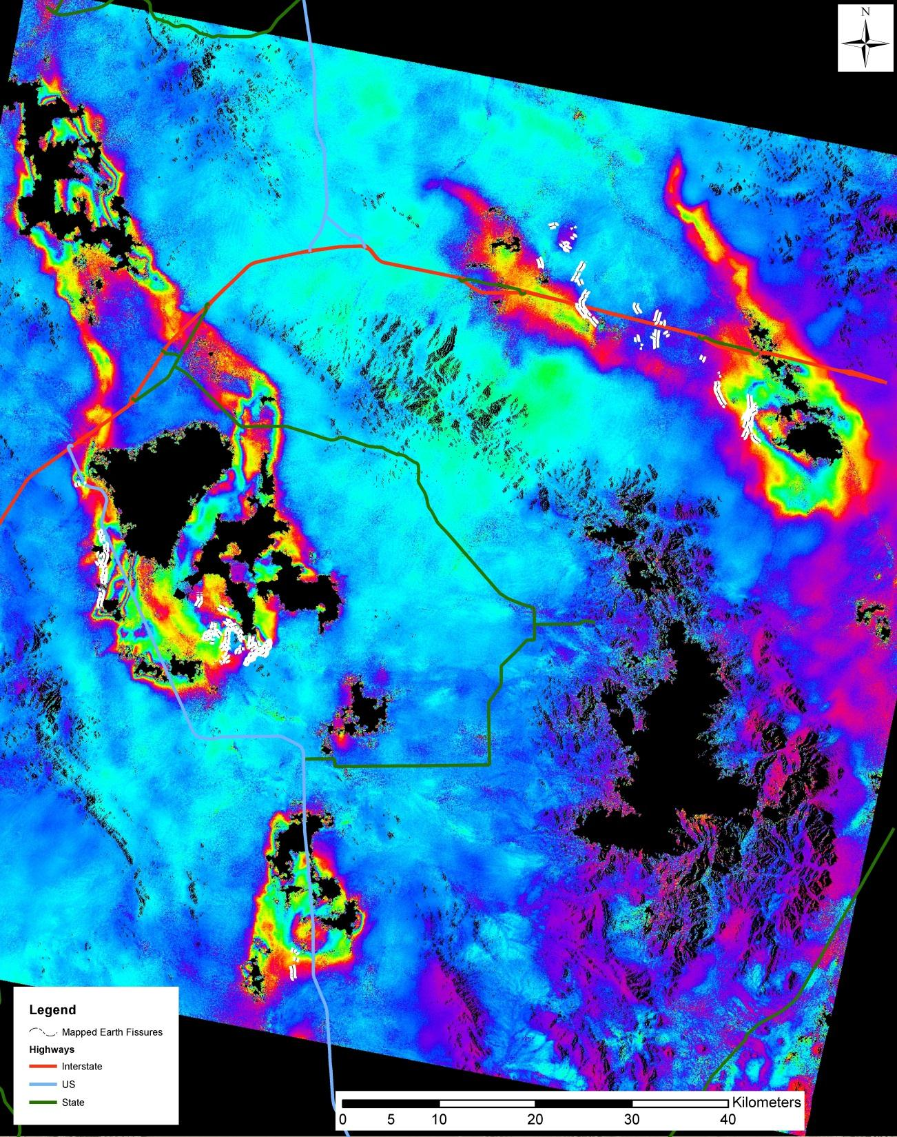 Cochise County Project in Southeastern Arizona Mapped earth fissures by the Arizona Geological
