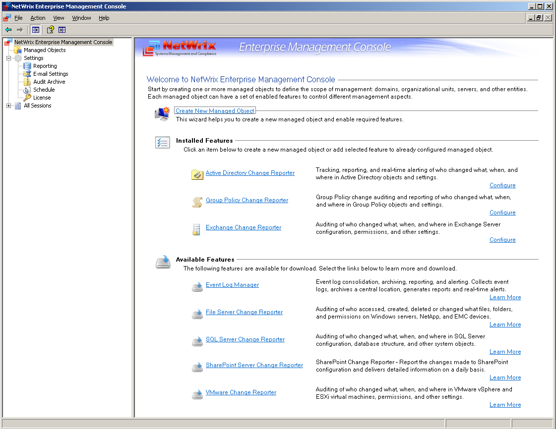 To start the Enterprise Management Console please go to NetWrix NetWrix Exchange Change Reporter Exchange