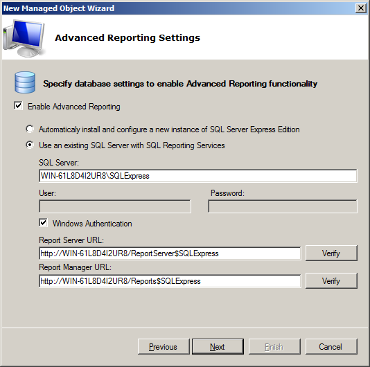 Step 6: Configure Database Next, if the Advanced Reporting general settings are not yet configured, you are presented with the following window asking to specify the Advanced Reporting settings: The
