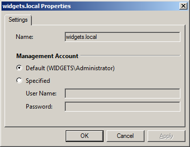 To open up a managed object properties menu right-click on it and select Properties: Figure 18: Managed Object Properties dialog window The window allows specifying the account used to run