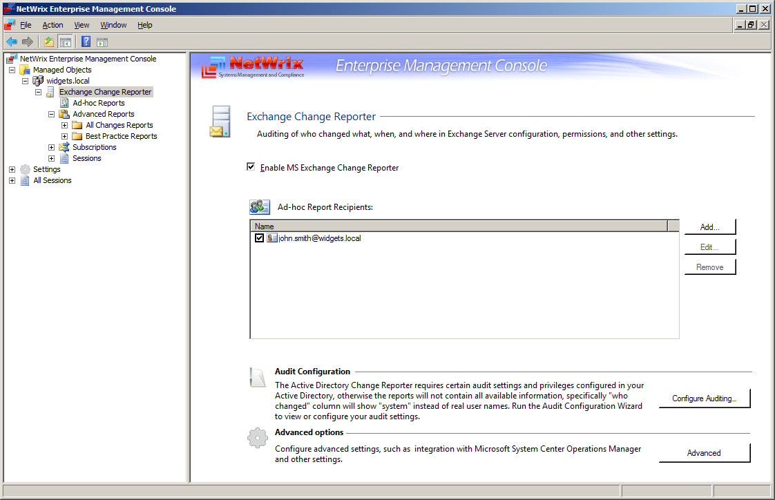 3.2 Modifying Exchange Change Reporter Settings This section describes how to change the configuration settings of an existing managed object (domain). 3.2.1 Edit Exchange Change Reporter Settings To
