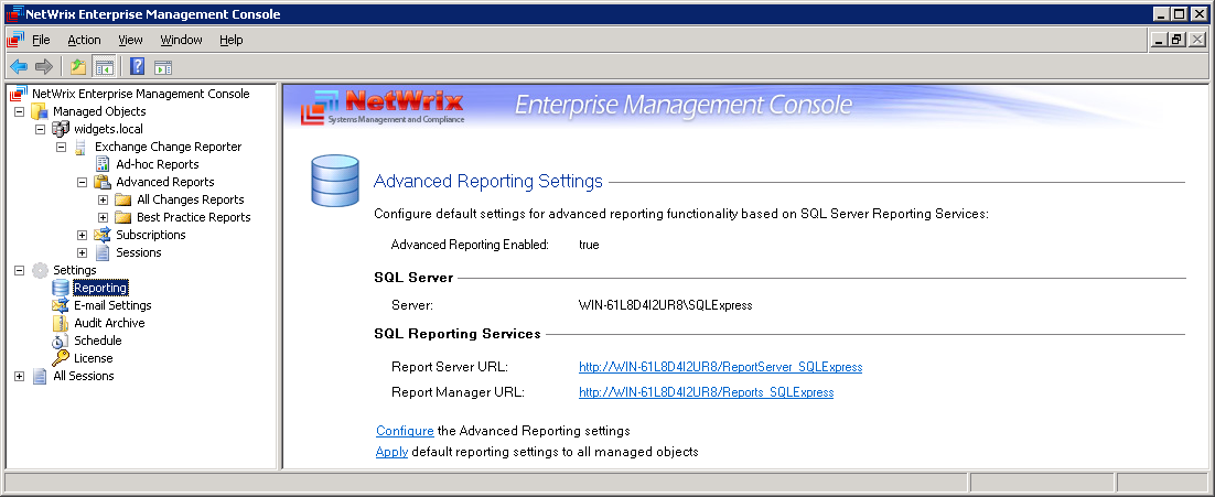 3.3 Settings IMPORTANT: these settings are general: they will be applied to all the enabled features that process data from all the managed objects. 3.3.1 Configuring Reporting Settings The Advanced Reporting is an SQL-powered feature that allows producing and viewing Advanced Reports.