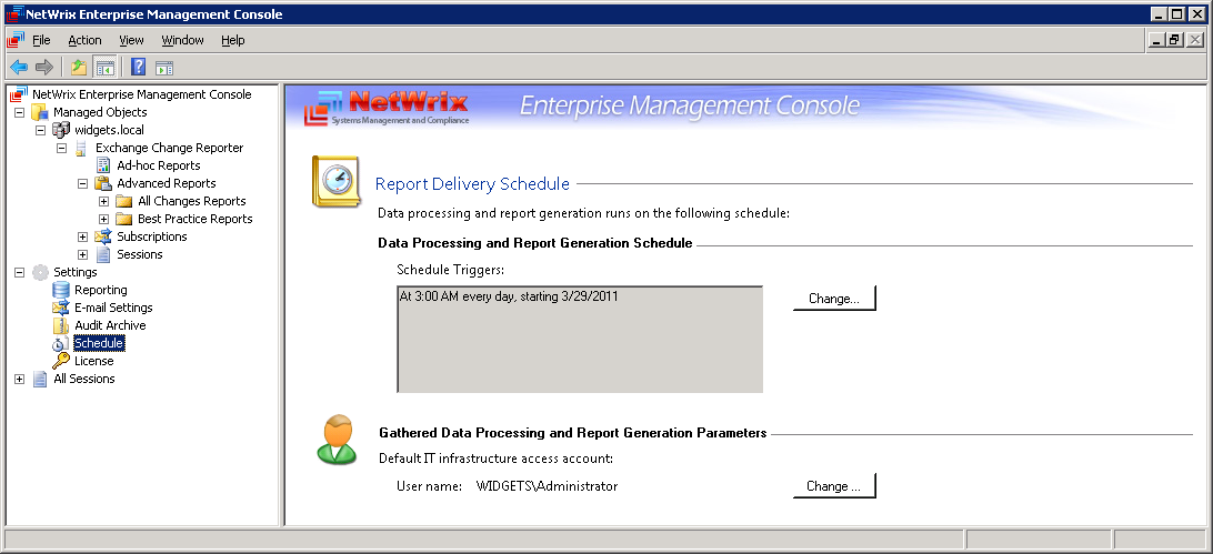3.3.4 Modifying Task Schedule To access the scheduling settings please go to Enterprise Management Console Settings Schedule: Figure 27: NetWrix Enterprise Management Console Settings Report Delivery
