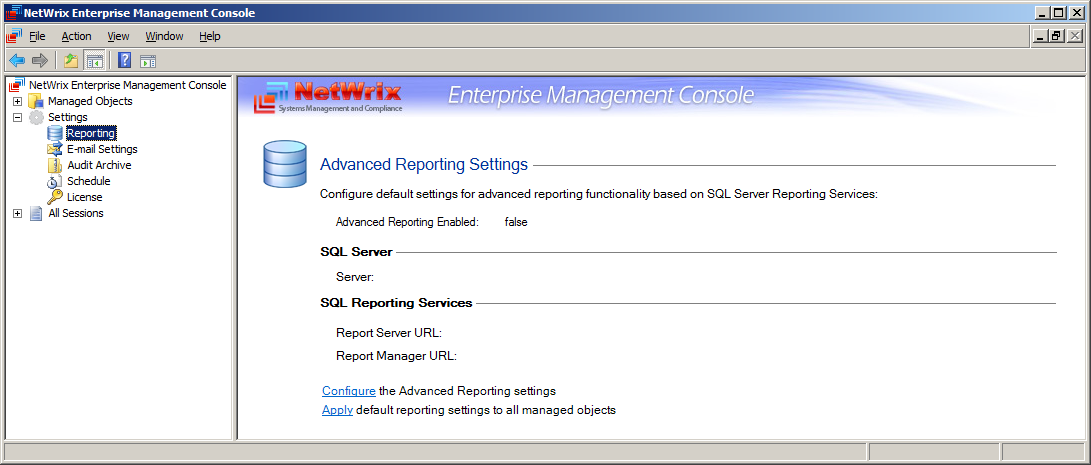 3.5 Using the Advanced Reporting With SQL Server having Reporting Services deployed, you can also configure the Advanced Reporting (SSRS-based).