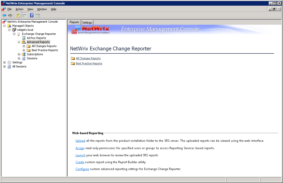 3.5.3 Web-based Reporting Settings The Advanced Reports node of the Exchange Change Reporter provides access to all available kinds of Advanced Reports and Web-based Reporting settings.