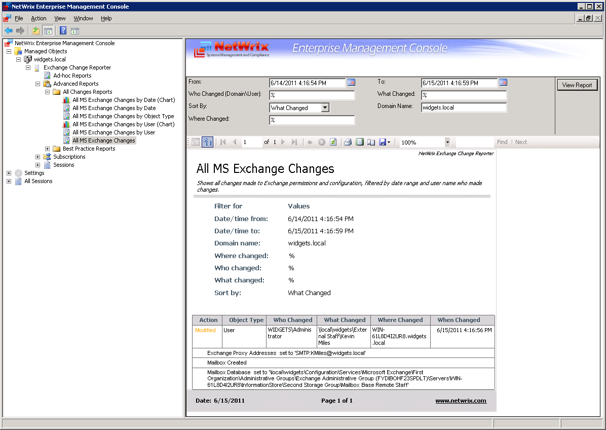The Exchange Change Reporter table-view Advanced Report example: Figure 47: