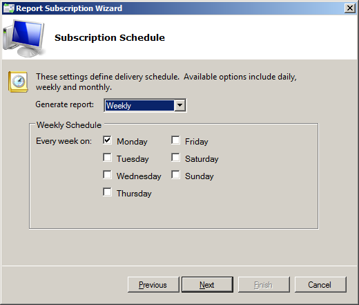 For the Weekly option choose the weekdays to receive the reports on. Again, the reports are sent at time, specified in 3.2.1 Edit Exchange Change Reporter Settings.