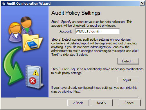 After the effective policy is selected the wizard proceeds to the Audit Policy Settings step.