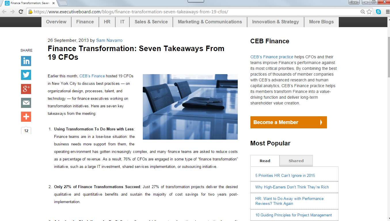 Finance Transformation Just 27% of