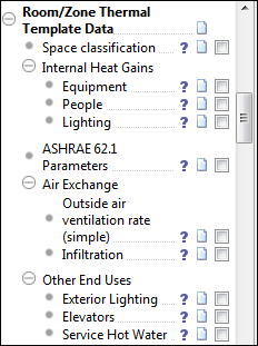 Room/Zone thermal template data Space classification Assigns thermal templates to zones by matching room group names to the template names for both the baseline and proposed buildings.