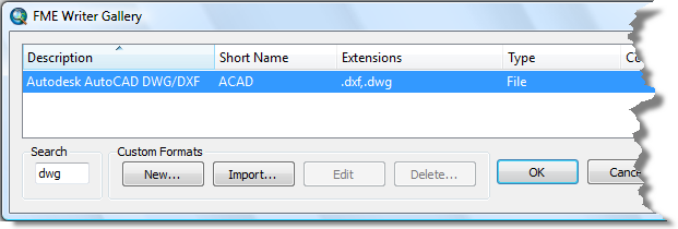 Choosing the FME writer 1. Click the Format browse button. The FME Writer Gallery dialog box opens. 2. Type dwg in the Search text box. 3.