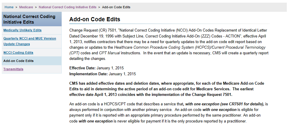 NCCI Add-On Codes NCCI Add-On Codes http://www.cms.