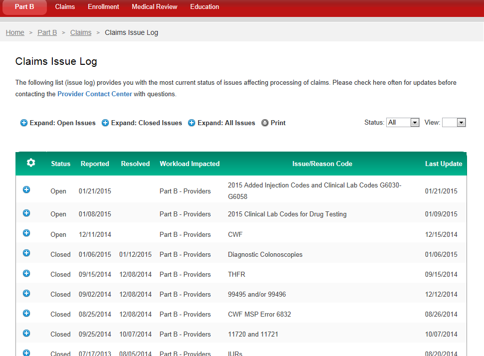 Claims Issue Log Current status of