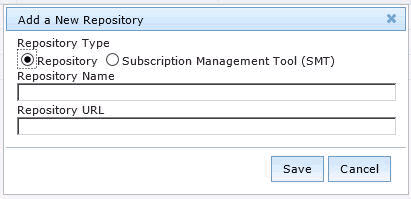 2. Click Add. 3. From the Add a New Repository dialog, select the repository type that you want to add. Note: Ensure that the repository settings match the repository server configuration.