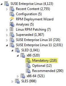 Procedure 1. From the Patch Management domain, click OS Vendors > SUSE Linux Enterprise, and navigate to the patch content using the domain nodes. Figure 12. Patch Management navigation tree 2.