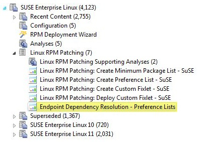 You can navigate to the dashboard by expanding the Linux RPM Patching node and selecting the Endpoint Dependency Resolution - Preference Lists
