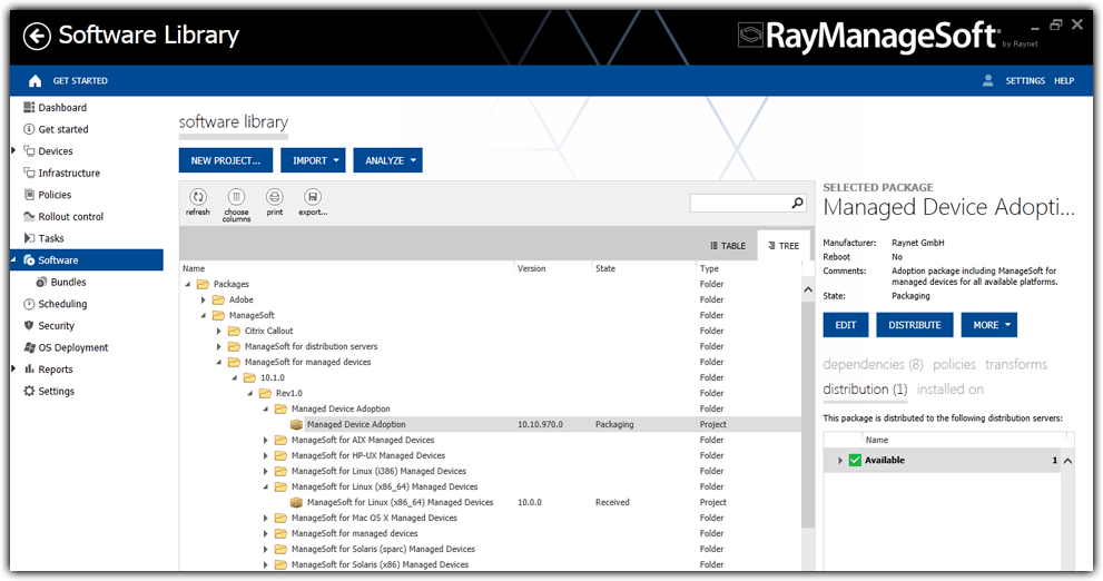 Administration Server Dashboard The Administration Server Dashboard of RayManageSoft infinity provides its user direct access to both dynamically updated key figures and quick links to underlying