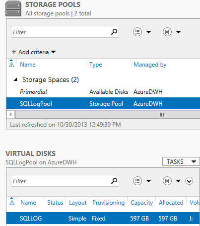 Scaling IO Options Windows Storage Spaces Log drive Not clear