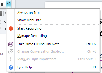 Recording your Session To get a recording of your Lync session: Click on the More Options double arrows On the drop down menu choose Start Recording To view your LYNC recordings or.