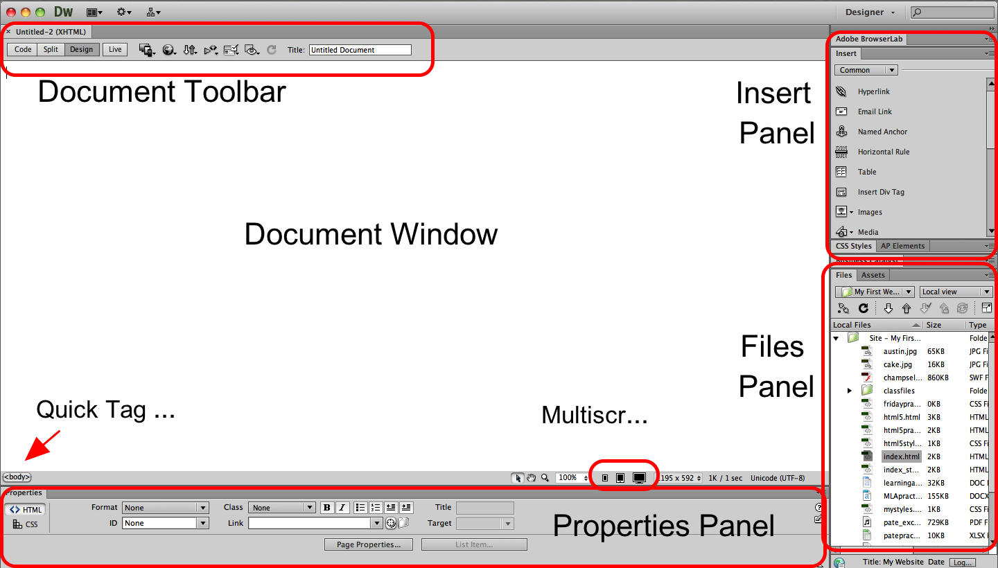 Exploring Dreamweaver Dreamweaver's workspace consists of the Document Window and a collection of panels, each containing a series of options for formatting, managing and inserting content.