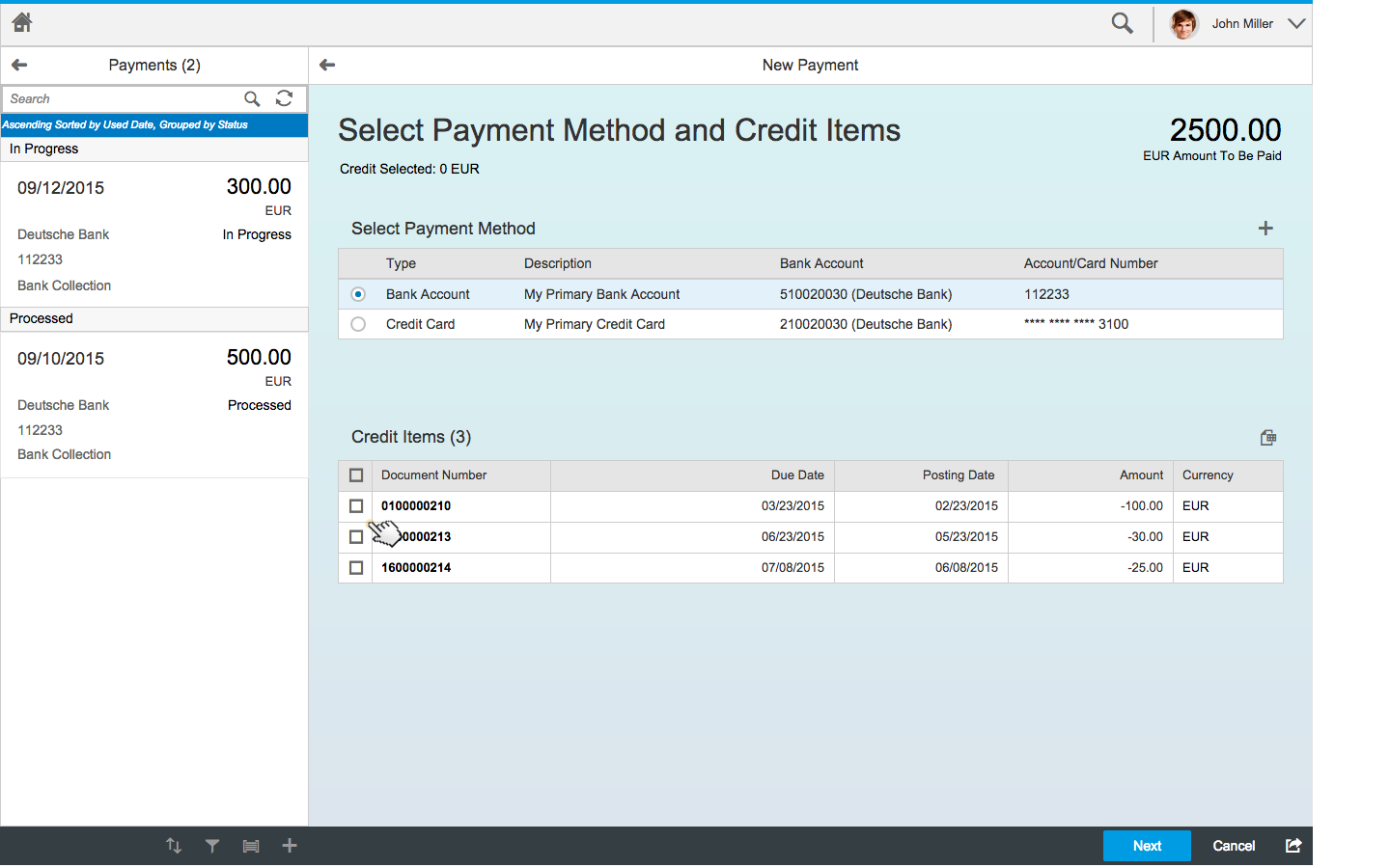 Pay my bills LAB PREVIEW Customers can pay their invoices using credit cards or bank collection (FI-AR) Online credit card authorization and settlement supported (planned) Partial payments, offset