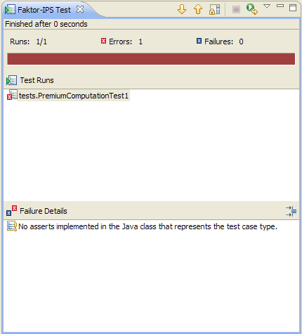 Figure 17: The test case execution with the Testrunner fails Faktor-IPS tells us that the test has failed by displaying red bars in the editor's title section and inside the Testrunner.
