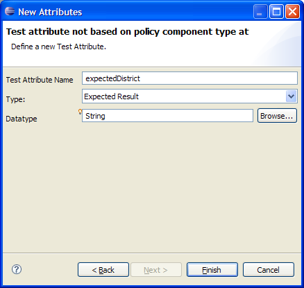 Figure 22: Attach the new attribute expecteddistrict to type HomeContract. Step 2 Now save the test case type and open the Java class RatingDistrictTest that is generated for it.