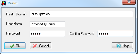 3 Authentication The authentication tab is used to define the authentication information for realm based authentication. Realm Domain: tor.trk.tprm.