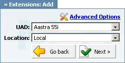 "17 Aastra 55i How To Note: -""Local"" is for all extensions registered on LAN. -""Remote"" is for all extensions registered from remote networks, WAN, Internet etc. 5. Click on the ""Next"" button."