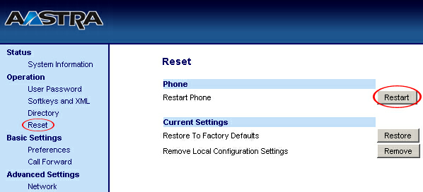 "21 Aastra 55i How To 5. Click on the ""Restart"" button to restart your Aastra 55i so the changes take effect. 2.4 Auto Configuration - Requirements - Auto Configuration 2.4.1 Requirements 1."